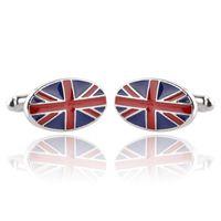 медный флаг оптовых-Мужчины запонки wholesaleretail Top медь синий цвет британский флаг дизайн запонки британский флаг запонки британский флаг запонки для свадьбы