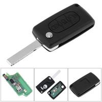 chip id46 433 mhz al por mayor-433MHz 3 Botones Keyless tirón sin cortar remoto Key Fob con ID46 Chip y HU83 lámina CE0536 para Citroen C3 C4 C5 Modelos KEY_10H
