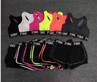 çalışan spor kadınları giymek toptan satış-Aşk Pembe Mektup Eşofman Lady Yaz Spor Giyim Koşu Spor Sutyen Şort Spor Üst Yelek Pantolon Set Kadın Yoga Takım 2 adet Underwears satış