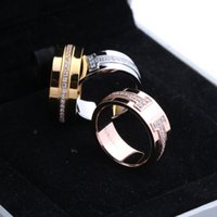 Wholesale double diamond rings - 316L Titanium steel double T Band Rings with diamond in 1.0cm width for Women and Men wedding jewelry Hot Sale free shipping PS5498