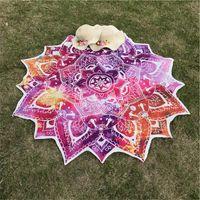 xales impressos boêmios venda por atacado-O transporte da gota Yoga Rodada Mat Mandala Tapestry Lotus Mat Yoga Bohemian Flor Impresso Xaile Tassel Sunblock Praia