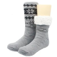 chinelos de chão indoor venda por atacado-Skinfullysweet New Long Floor Meias Casa Chinelo Homem Inverno Quente Difusa Anti-Skid Forrado Piso Interior Meias de Natal