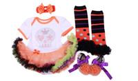 ingrosso fascia di zucca di halloween-I vestiti dei bambini di Halloween dei neonati regolano i pannelli esterni della bolla del tutu del manicotto del cranio del cranio della zucca + fascia + calzini e pattini vestito del bambino del vestito 4pcs