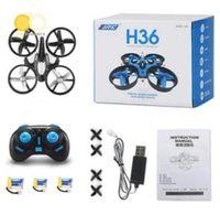 modlu rotor toptan satış-JJRC H36 Mini Drone 2.4 Ghz 4CH 6-Axis GYRO RC Quadcopter Başsız LED Modu Bir Anahtar Dönüş Helikopter ADEDI 10 adet