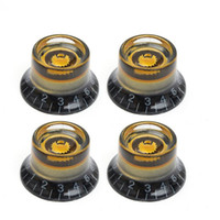 Wholesale Replacement Guitar Knobs - 4pcs Black Gold Guitar Knobs Speed Control Volume Tone For Guitar Guitarra Replacement Electric Guitar Bass Accessories