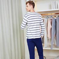 camisa camisa de pijama venda por atacado-Conjuntos de Sono dos homens Listrado Conjunto Interior Loungewear Casuais Qualidade Nighties De Algodão para Homens Camisas Do Sono + Calças de Pijama