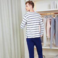 pyjamahemd männer großhandel-Herren Schlaf Sets Striped Indoor Set Casual Loungewear Qualität Baumwolle Nighties für Männer Schlaf Shirts + Pyjama Hosen