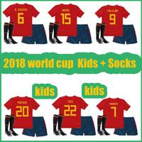 gold cup socks 2018 - 2018 world cup Spain Kids kit soccer jerseys football Kits kids uniform with socks camisetas de futbol MORATA ASENSIO ISCO SILVA RAMOS