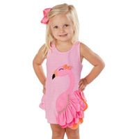 Wholesale chinese outfits children resale online - Summer Baby Girl Clothes Sleevless Dress Swan Sundress Toddler Cute Children Clothing Vestidos Striped Animal Dress Boutique Outfits
