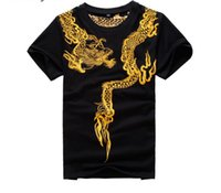 Wholesale geometric tattoos - Chinese Dragon Embroidered T Shirt Men's Fashion Summer Casual Short Sleeve T shirt Totem Tattoo Tops Tees High Quality