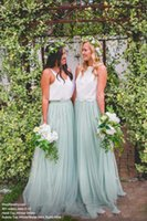 ingrosso più caldi abiti da promenade junior-2018 Hot Two Pieces Formale Wedding Guest Dress Tulle damigella abiti da ballo Una linea di abiti da damigella d'onore da pavimento