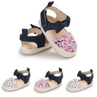sandales talons mignonnes talons talons achat en gros de-Été Mignon Enfant Enfants Bébé Fille Bowknot Floral Imprimer Sandales Chaussures Coton Plat Avec Talon Crochet Chaussures 3 Style Outfit 0-18 M