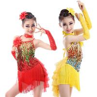 mädchen fringe kostüm großhandel-Mädchen Salsa Fransen Kinder Tanz Kostüm Pailletten Fransentanz Kleid Kind Kinder Pailletten Kostüm Rotgold Rock Ballsaal