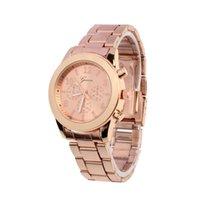 женва часы серебряные оптовых-New Unisex Ladies Watches Geneva Women Watches Rose Gold Stainless Steel Silver Quartz Wrist Watch 10.22