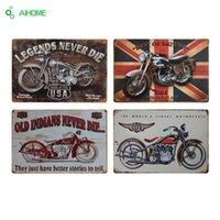 motosiklet kalay metal toptan satış-AIHOME Motosikletler Metal Plaka Eski Ev Dekor Kalay Işaretleri Bar Restoran Cafe Dekor Metal Boyama Plak Duvar Çıkartmaları