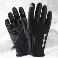 Wholesale windproof gloves for touch screen for sale - Group buy winter touch screen gloves for men and women Outdoor gloves windproof thermal cycling full finger zipper sport with velvet mountaineeri