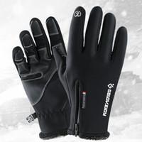 handschuh thermisch großhandel-Winter-Touchscreen-Handschuhe für Männer und Frauen Outdoor-Handschuhe winddicht thermische Radfahren voller Finger Reißverschluss Sport mit samt Bergsteiger