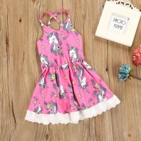 Wholesale Girl Dres - Girls Unicorn Vest Dres Lace Hem Unicorn Printed Baby Dresses 2018 Summer Cotton Kids Princess Dress Children Clothes C2798