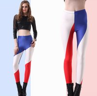 Wholesale women flag leggings - Printing Leggings Fashion World CupFranch Flag Pants Legging Lady Mid Waist Ankle-Length Leggings
