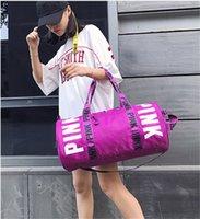 Wholesale Wholesale Luggage Bag - Women Pink Handbags Duffle Bag VS Gym Yoga Bags Oxford Cloth Waterproof Outdoor Travel Beach Big Capacity Luggage Bag Totes Shoulder Bag New