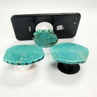 Wholesale gifts stands - Halloween Gift Stone Phone Holder ABS Natural Irregular Turquoise Air Sac Mobilephone Stand Creative Glitter Marble Holders 6jx YY