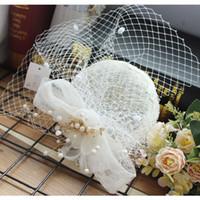 eski tüy gelin şapka toptan satış-Çekici Vintage Gizem Mükemmel Tüy Beyaz Tull Başlığı Kafa Peçe Düğün Gelin Aksesuarları 2018 Gelin Şapka