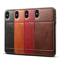 schutz-handy-abdeckungen großhandel-Premium PU Leder Handy Fall Anti-Rutsch-Kartensteckplatz Schutzhülle für iPhone XS Max XR 8 Plus Samsung Note 9 S9 Plus Opp Tasche