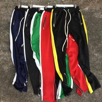 ingrosso tasca della caviglia-Pantalone con cinturino alla caviglia con cerniera 6 colori Cinturino con cerniera lampo con motivo a banda di dio Tasche a contrasto colore 2018