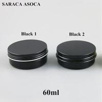 jarras al por mayor-Frascos de aluminio recargables vacíos de 60 ml 60 g de metal de oro negro Contenedores de cosméticos Productos artesanales Embalaje Caja de aluminio pequeña 100 unids / lote