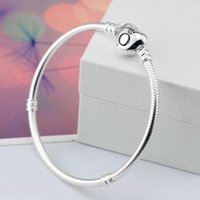 Wholesale stainless steel pandora - 16-23cm High Quality 925 Sliver heart &round Beads fit pandora Bracelet Snake Chain charm Bracelet DIY Jewelry Gift