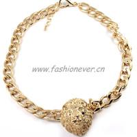 Wholesale Lion Head Necklace Wholesale - whole saleCelebrity Style Chunky Unique Link Lion Head Choker Necklace