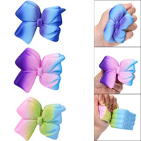 Wholesale colorful bow tie - 3 Colors PU Squishy Colorful Bow Tie Soft Galaxy Bow Jumbo Kids Toy Slow Rising Scented Squeeze Simulation Bread Dcompression Toys AAA230