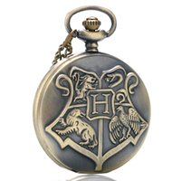 Wholesale movies clock - Fantasy Cool Children Bronze Hogwarts Theme Fob Quartz Pocket Watch Full Hunter Numerals Pendant Clock Best Gift for Movie Fans with Chain