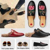 rahat terlikler toptan satış-Yeni Katır Princetown Erkekler Kadınlar Kürk Terlik Mules Flats Gerçek Deri Tasarımcı Moda Metal Zinciri Bayanlar iskarpin ABD 5-12