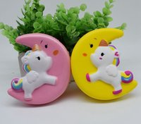 Wholesale toy powder for sale - Group buy Slow Rising Squishy UNICORN MOON Icecream Flash Powder Kawaii Charms Pendant Straps Christmas Gift Stress Reliever