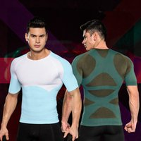 ingrosso camicia di compressione verde-Correttore postura maschile Compressione Shapewear Busto Shapers Tops Shirt Men Slimming Chest Shaper Underwear Belly Addome Control Shapers