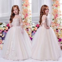 Wholesale little girls occasion dresses for sale - Princess Sheer Half Sleeve Little Flower Girl Dresses For Weddings Applique Kids Ball Gowns Special Occasion First Communion Dresses BA7638