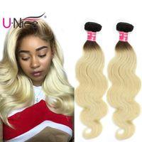 Wholesale cheap two tone blonde hair - UNice Hair Brazilian Body Wave Bundles Ombre T1B 613 Two Tone Remy 100% Human Hair Extensions Wholesale Cheap Bulk Blonde Hair Weaves