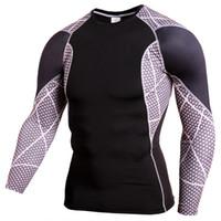 ingrosso avorio di chris-L'uomo Sport collant PRO maniche lunghe Ventilazione Bodybuilding Run Calcio vestito basket Allenamento T-shirt
