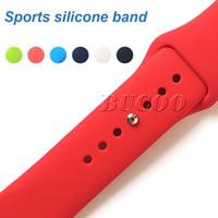 iphone saat bantları toptan satış-Apple iPhone Için 28 Renkler Silikon Spor Band Değiştirme 4 3 2 40mm 44mm 38mm Band Watchstrap Yumuşak Kauçuk Bilek Bilezik Kayış Bileklik