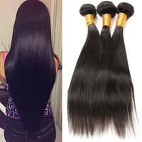comprar maquina de trama del cabello al por mayor-Cabello liso brasileño 100% cabello no remy de cabello humano Compre 3 paquetes Color natural Máquina doble trama 100-105g