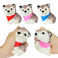 Wholesale husky toys online - 11cm Squishy Husky Dog Squishies Kids Toys Unique Slow Rising Elastic Squeeze Children Toys Relieve Pressure Toys Gifts Novelty AAA1210