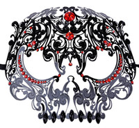 Wholesale metal skull mask masquerade online - Handsome Skull Mask Mardi Gras Masquerade Ball Venetian Laser Cut Metal Face Mask For Masquerade Party