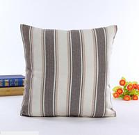 Wholesale linen pillow stripe resale online - Classic chromatic stripe linen pillow case Modern concise style cushion cover different colors home office decoration