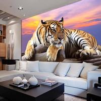 ingrosso grande carta da parati 3d della tv-Carta da parati personalizzata foto Tigre Sfondi animali 3D Grande murale Camera da letto Soggiorno Divano TV Sfondo 3D Murales Carta da parati Roll