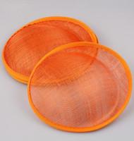 ingrosso cappello arancio derby-20 CM Orange Derby matrimonio SINAMAY fascinator base cappelli da festa fascinators accessori per capelli fai da te cappe cocktail 5 pz / lotto