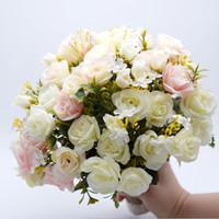 hot pink braut blumenstrauß groihandel-Rosa weißer Hochzeits-Blumenstrauß handgemachte künstliche Blume Rose buque casamento Brautstrauß für Hochzeits-Dekoration