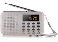 mini mp3 player bateria venda por atacado-2018 Novo Portátil Mini LCD Estéreo Digital FM Rádio Speaker USB Cartão TF Mp3 Music Player com Luz LED e Bateria Recarregável