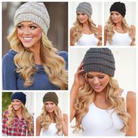 kablo örme kışlık şapka toptan satış-Kadın Örme Beanie Hat 9 Renkler Yumuşak Streç Kablo Örgü Kış Sıcak Kafatası Bere 100 adet OOA3836