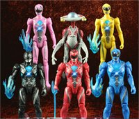 luz de guarda venda por atacado-6 Pçs / set Power Ranger Modelo presentes Bonecos de Figuras de Ação com Led Luz brinquedos para crianças made in china